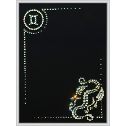 "Картина с кристалами Swarovski ""Фоторамка знак зодиака Близнецы"""