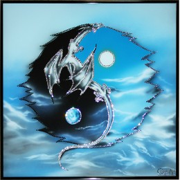 "Картина с кристалами Swarovski ""Инь-ян с драконом"""