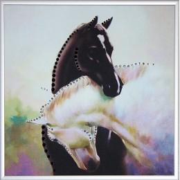 """Картина Swarovski """"Инь-ян в год лошади ч/б"""""""