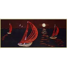 "Картина с кристалами Swarovski ""Кораблики в море"""