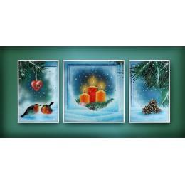"""Картина с кристалами Swarovski """"Композиция «Зима»"""""""