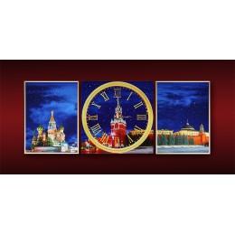 """Часы,Картина Сваровски """"Красная площадь(триптих)"""""""