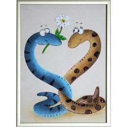 """Картина Swarovski """"Новогодние влюбленные змейки"""""""