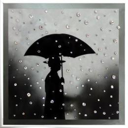 """Картина с кристалами Сваровски """"Под дождем"""""""