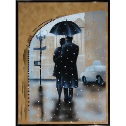 """Картина с кристалами Swarovski """"Под зонтом"""""""