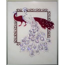 """Картина с кристалами Swarovski """"Павлины к удаче-2"""""""