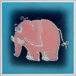 "Картина Swarovski ""Розовый слоник"""