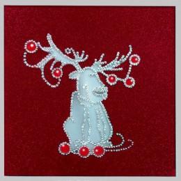 """Картина с кристалами Swarovski """"Рождественский олень"""""""