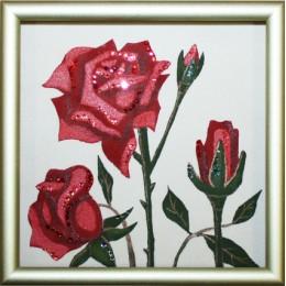 """Картина Swarovski """"Роза (ч,б)"""""""