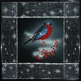 """Картина с кристалами Swarovski """"Снегирь"""""""