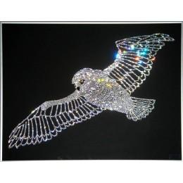 """Картина с кристалами Swarovski """"Сова в полете"""""""