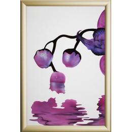 """Картина с кристалами Swarovski """"Сиреневая орхидея-1"""""""