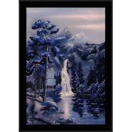 """Картина с кристалами Swarovski """"Водопад в ночи"""""""