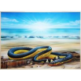 """Картина с кристалами Swarovski """"Водяная змея — Пеламида"""""""