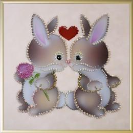 """Картина Swarovski """"Влюбленные кролики"""""""