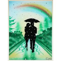 """Картина с кристалами Swarovski """"Влюбленные под радугой"""""""