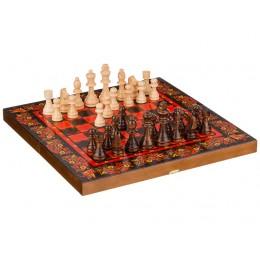 """Набор: шахматы-нарды-шашки, средние 3 в 1 """"Хохлома красная"""" 40*20*6 см."""