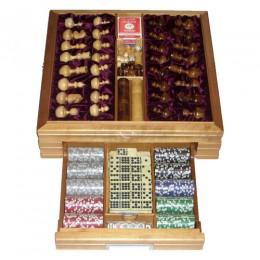 Большой игровой набор из березы ( нарды, шахматы, покер)
