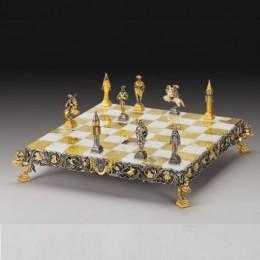 Шахматы «Лилипутия» подарочные, бронза, позолота