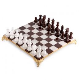 Шахматы из камня белый мрамор/агат