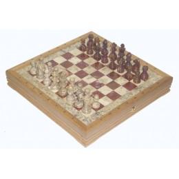 Шахматы каменные Американские из мрамора и красного оникса