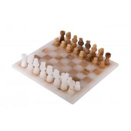Шахматы из камня, матовый белый мрамор -агат