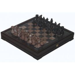 Шахматы каменные из розового и черного мрамора