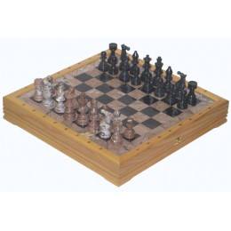 Шахматы каменные из черного и розового мрамора
