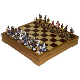 """Шахматы """"Ледовое побоище"""" исторические с фигурами из олова покрашенными в полу коллекционном качестве"""